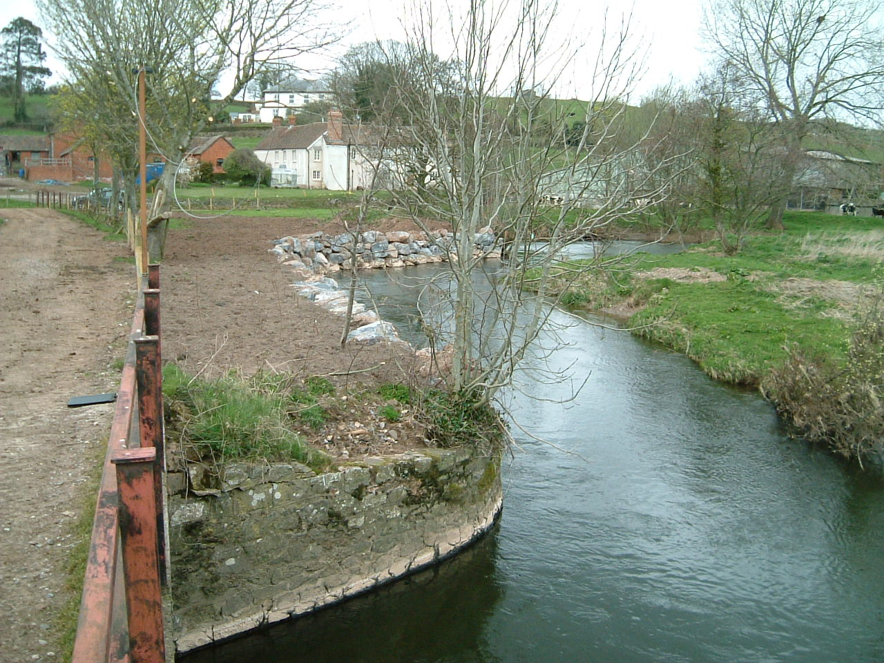 Completed riverbank protection