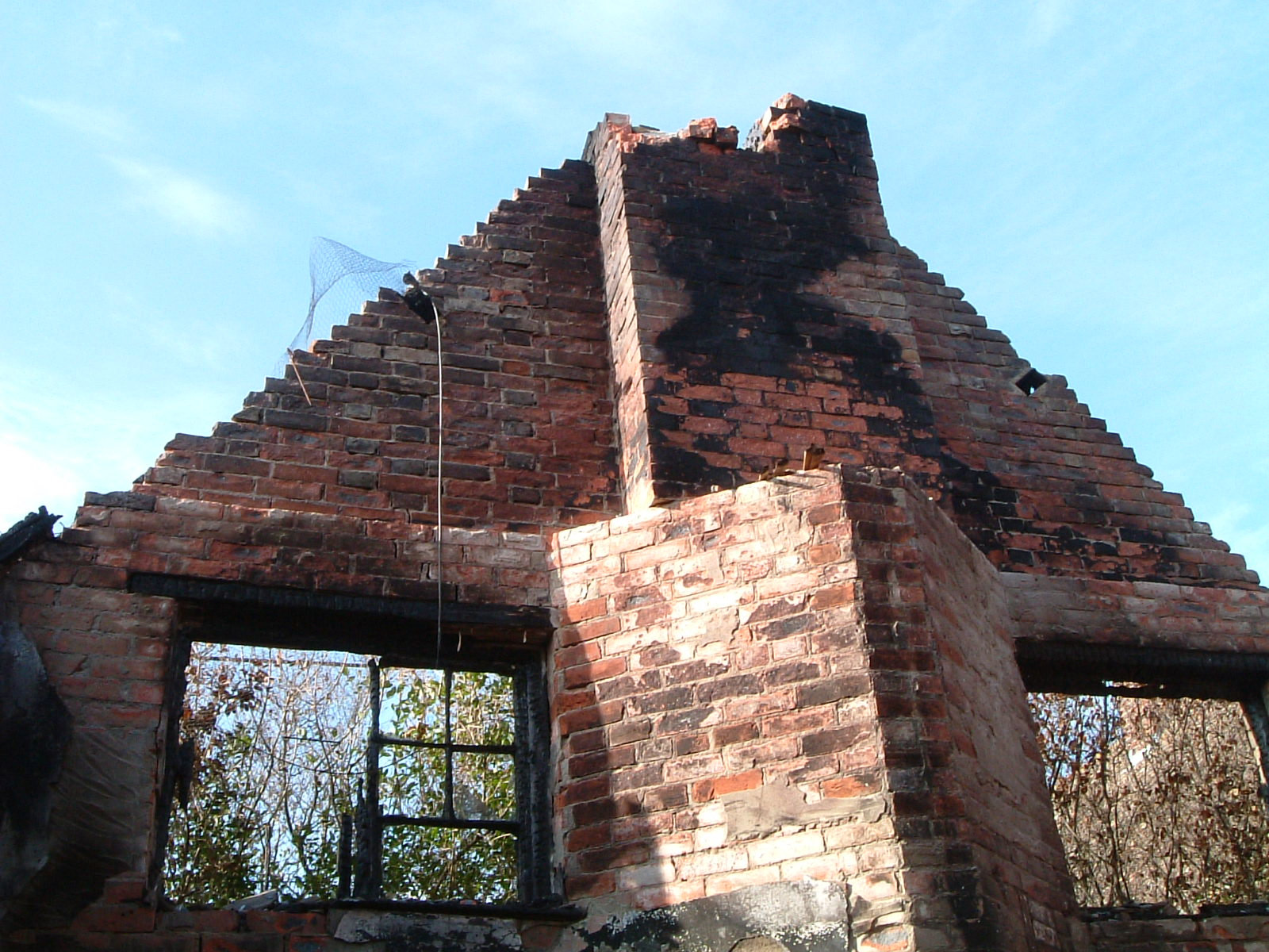 Heavily damage gable