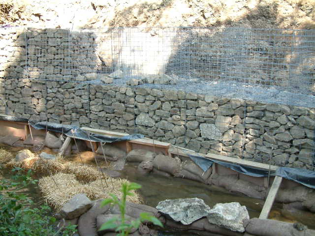 Construction of new gabion retaining wall