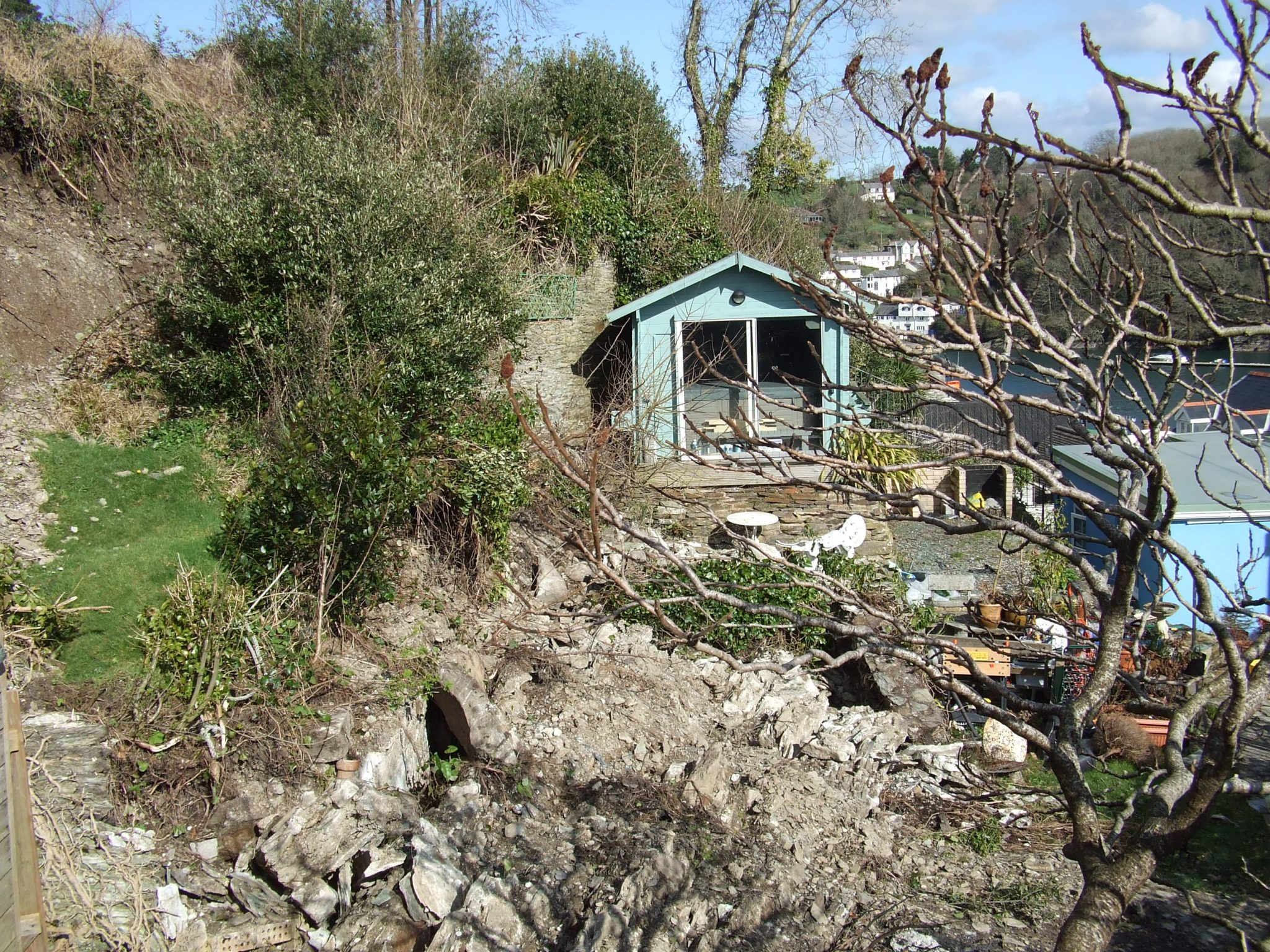 Garden below the collapsed retaining wall